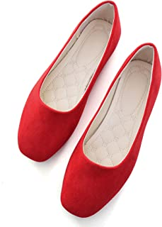 Hee grand Women's Pointy Toe Slip On Solid Comfortable Ballet Shoes Square Mouth Flats Shoes Red