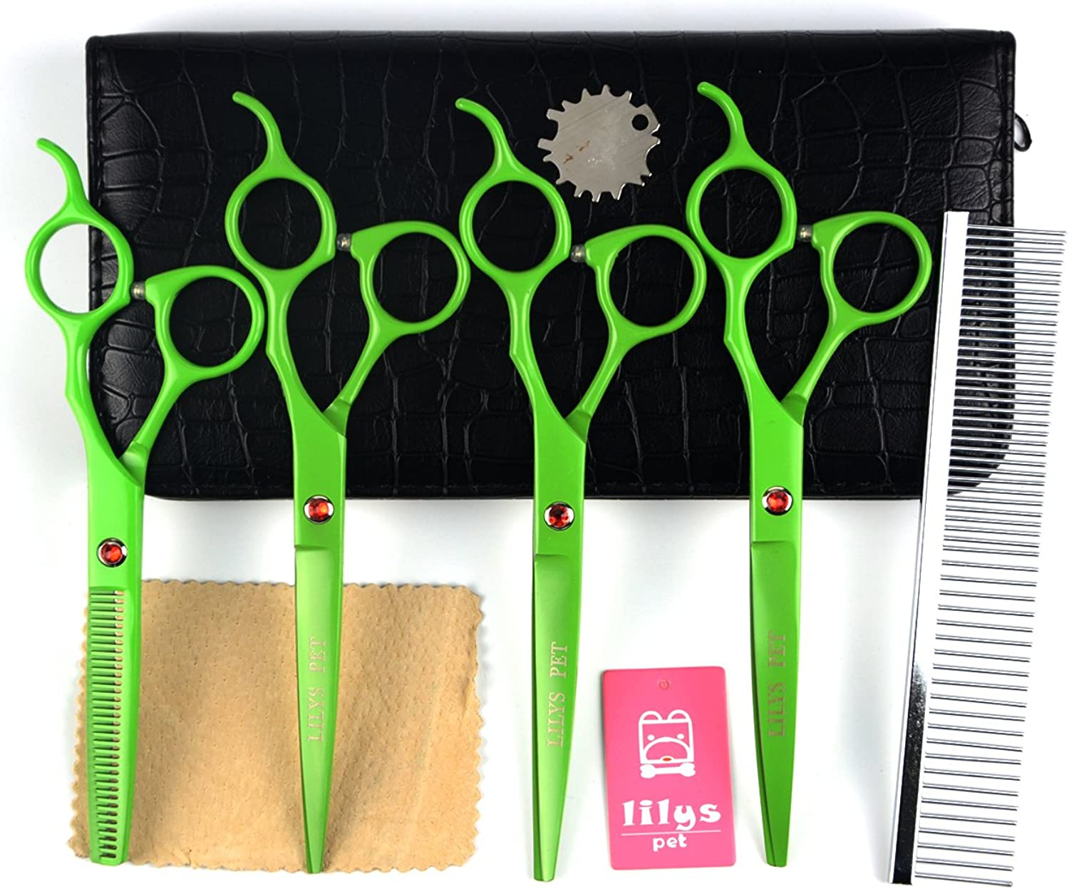 LILYS PET 7inch Professional PET DOG Grooming scissors suit Cutting&Curved&Thinning shears (Green)