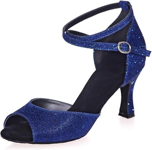 mujer zapatos de Interior Moderno Baile Latino Hebilla Cruzada Punta Abierta Entrenamiento Profesional Samba Vaquero Jazz Tango Salsa 7.5CM
