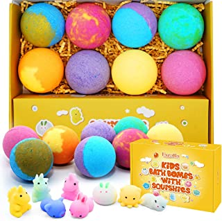 Bath Bombs for Kids with Surprise Squishy Toy - Bubble Bath Toys Fizzies Vegan Essential Oil Spa Bath Fizz Balls Kit for Girls/Boys/Women Dry Skin Moisturize, Handmade 8 Gift Set