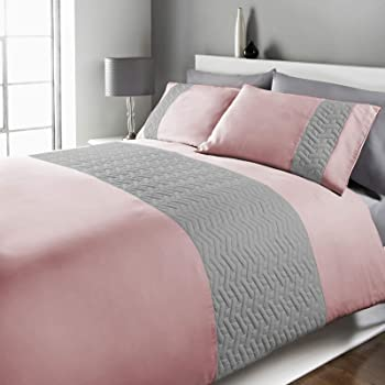 Brentfords Pinsonic Duvet Cover with Pillow Case Embossed Embroidered Geometric Panel Bedding Set, Blush Grey - Single