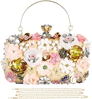 Selighting Colorful Flower Clutch Evening Bags for Women Formal Bridal Wedding Clutch Purse Prom Cocktail Party Handbags