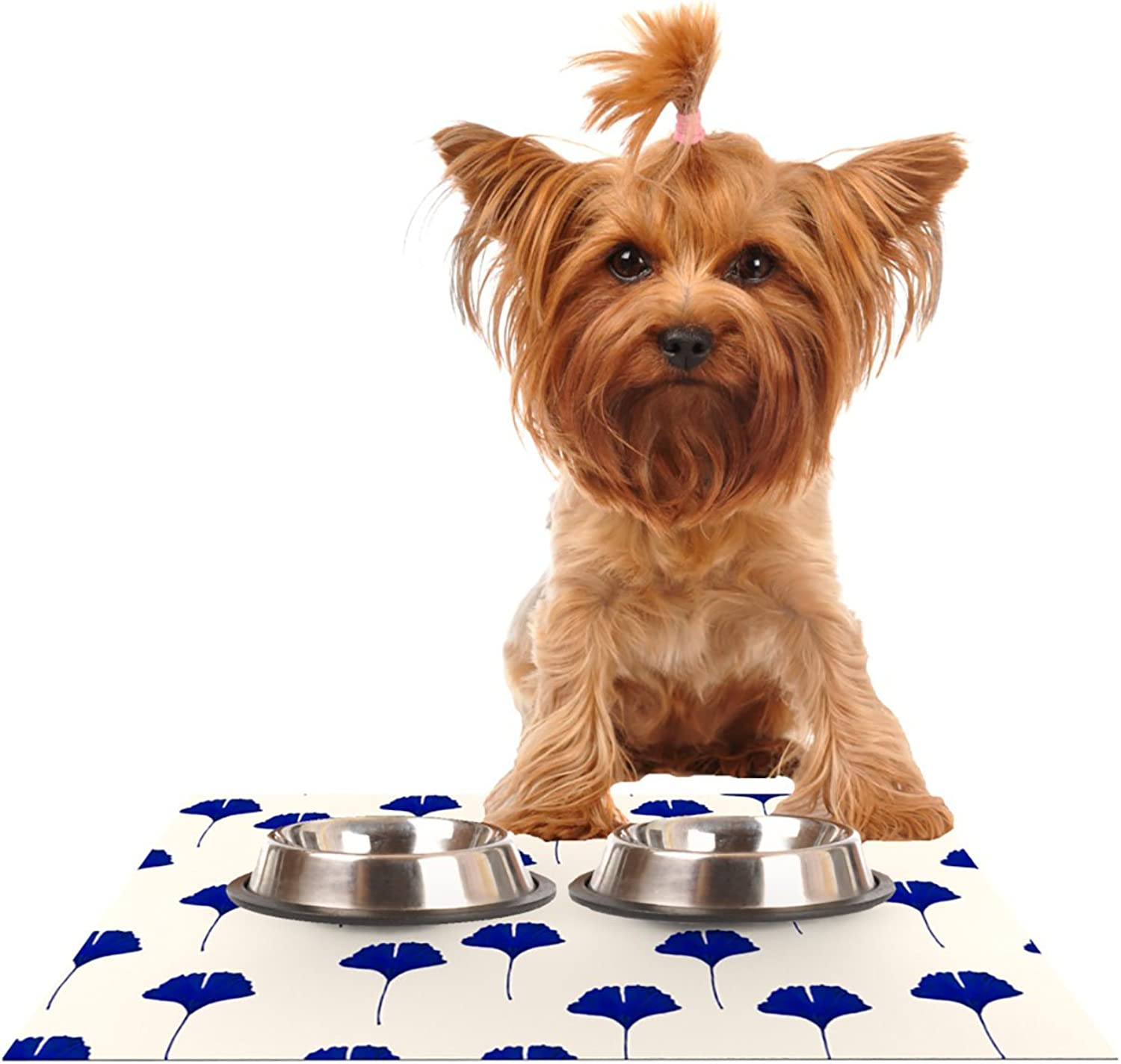 KESS InHouse Iris Lehnhardt Leaf Pattern  Tan bluee Pet Bowl Placemat for Dog and Cat Feeding Mat, 24 by 15Inch