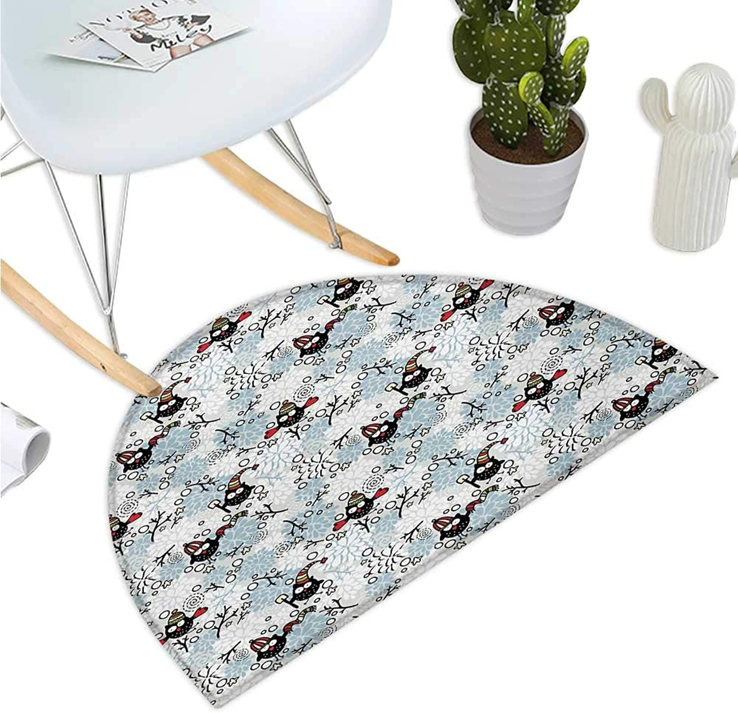 Owls Semicircular Cushion Wintertime Pattern with Cute Characters and Snow Flowers Stars Doodle Style Xmas Theme Entry Door Mat H 43.3  xD 64.9  Multicolor