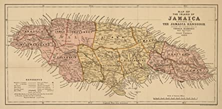 8 x 12 Reprinted Old Vintage Antique Map of: c.1893 Map of The Island of Jamaica m4828