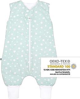 emma & noah Premium Baby Schlafsack mit Füßen Ganzjahr, Bequem & Atmungsaktiv, 100% Bio-Baumwolle, OEKO-TEX Zertifiziert, Flauschig, Bewegungsfreiheit, 2.5 TOG, Punkte Peach von emma & noah Punkte Mint, 110 cm