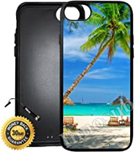Custom iPhone 8 Case (Tropical Beach Resort Palm Tree Sand) Edge-to-Edge Rubber Black Cover with Shock and Scratch Protection | Lightweight, Ultra-Slim | Includes Stylus Pen by INNOSUB