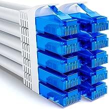 [SET 10 pieces] deleyCON 0.25m (0.82 ft) CAT6 patch cable SET gigabit LAN DSL network cable - shielding U/UTP - gold-plated contact areas - RJ45 plugs - white