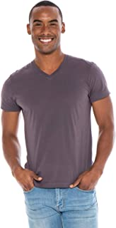 Men's Designer T-Shirt Lightweight Semi Fit Short Sleeve V-Neck Organic Cotton Pre-Shrunk Embroidered - Made in USA