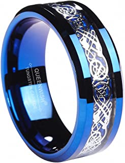 Queenwish 8MM Blue Tungsten Carbide Wedding Band Celtic Dragon Blue Carbon Fibre Inlay Mens Women Couples Promise Ring