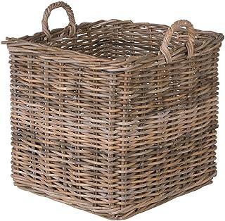 Kouboo Kobo Square Rattan Decorative Storage Basket and Planter, Large Size, Gray