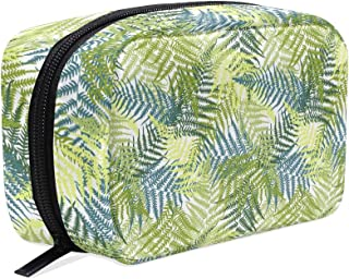Fashion Square Cosmetic Bag Palm Trees Fern Pattern Toiletry Bag Multifunction Storage Portable Travel Bag For Women