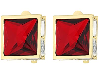 Vince Camuto Pyramid Clip Button Earrings (Gold/Crystal/Siam) Earring