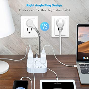 Power Strip with USB C, 3 Outlets 4 USB Ports (22.5W/4.5A) Desktop Charging Station, Flat Plug, 5ft Braided Extension...