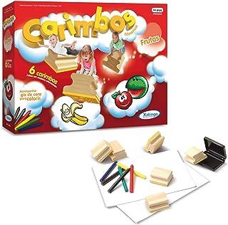 Xalingo 5080-9, Carimbo Pedagógico, Frutinhas para Colorir, Multicor