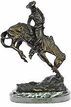 Handmade European Bronze Sculpture Frederic Remington Cowboy on Horse Rodeo Old West Western Art Bronze Statue -63092-Decor Collectible Gift