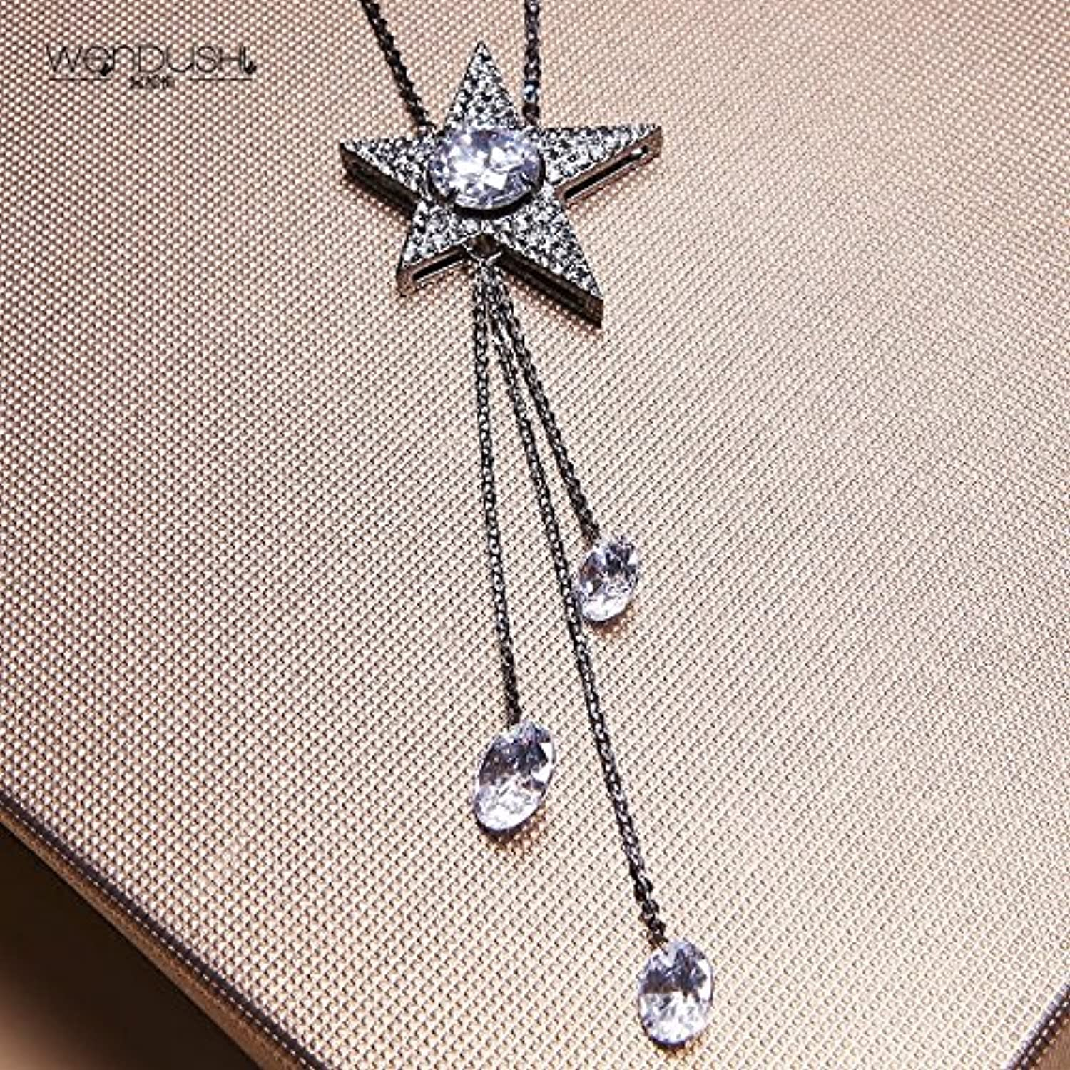 Hot Decorated with Exquisite Diamond Star Necklace Pendant Zircon Long Sweater Chain Women Girls Fashion Black Plating