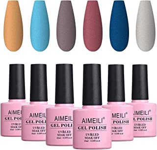 AIMEILI Matte Gel Nail Polish Set Soak Off UV LED Glitter Gel Polish Multicolour/Mix Colour/Combo Colour Of 6pcs X 10ml - Gift Kit 33