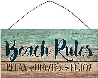 BESTWD Beach Rules Relax Unwind Enjoy Weathered 5 x 10 Wood Plank Design Hanging Sign