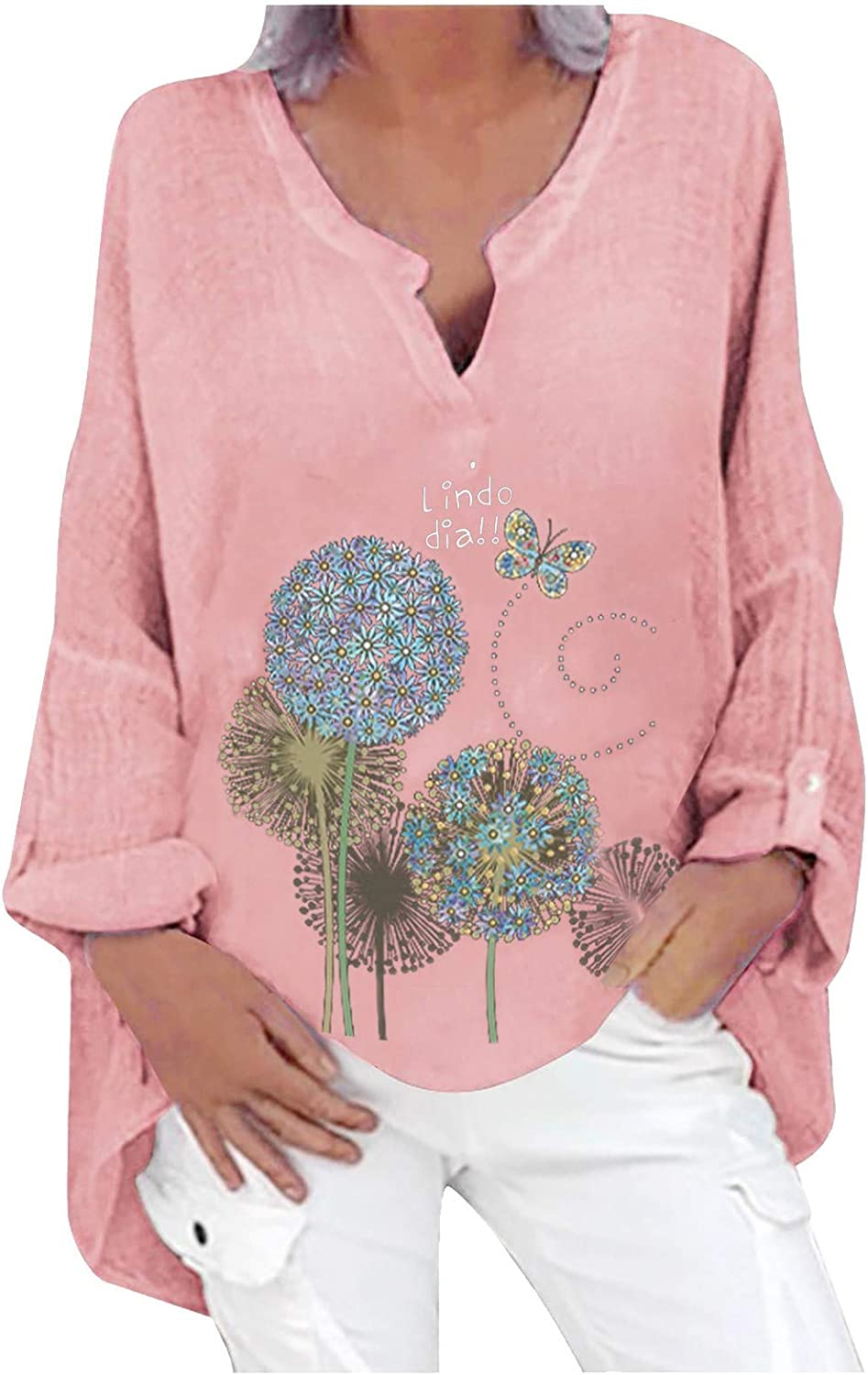Aiouios Sweatshirts for Women Graphic Floral Print V-Neck Long Sleeves Pullover Hoodies Lightweight Casual Tnuic Blouses