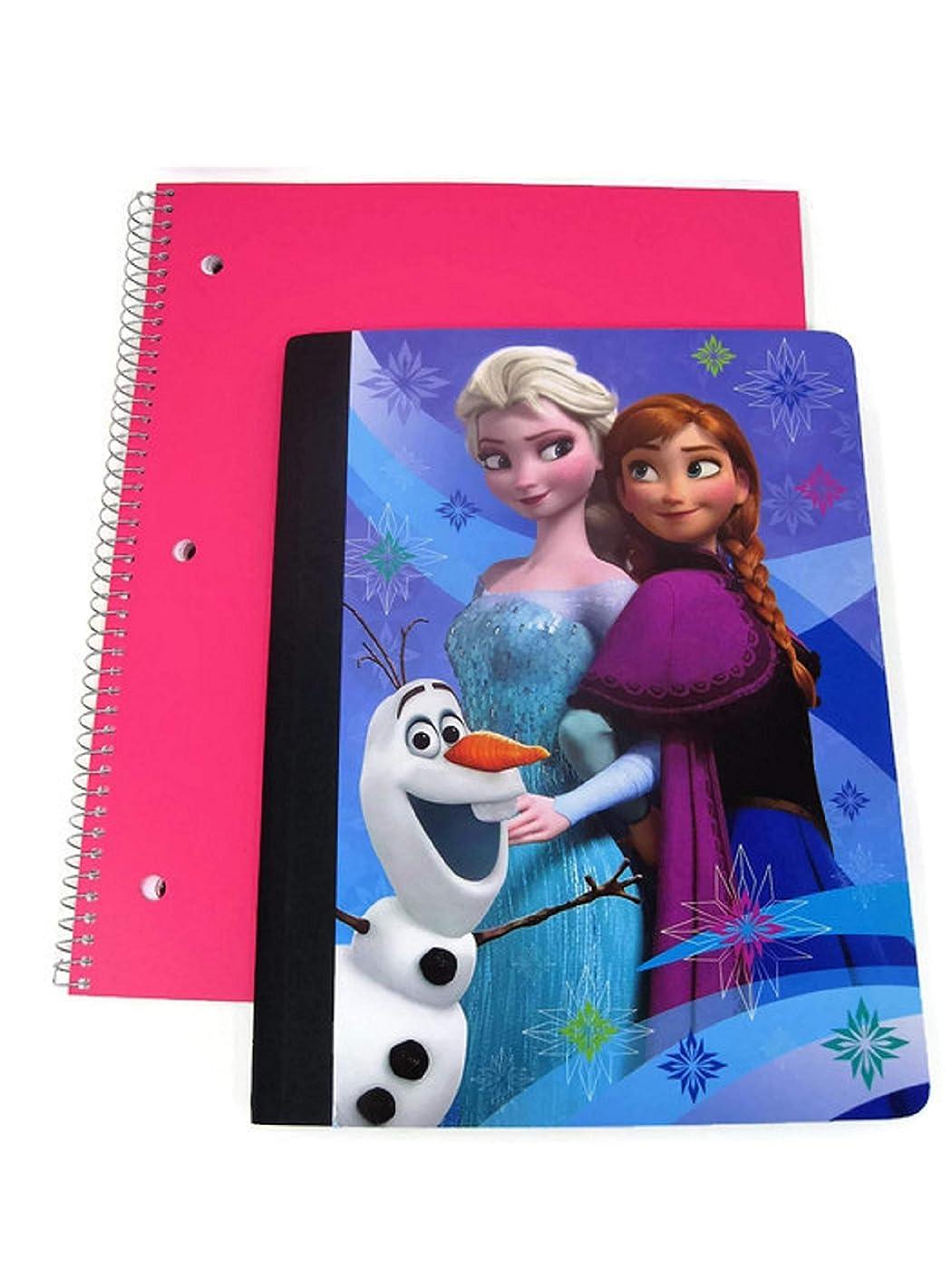 Anna & Elsa「Frozen」デザインワイド罫線100ページノートブック- 2冊セット
