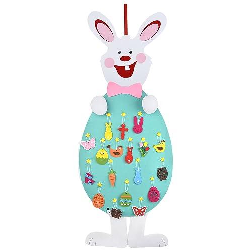Lapin de Pâques, Funpa feutre de lapin décoration de feutre de bricolage avec 18pcs ornements décoration murale avec corde suspendue pour les enfants cadeaux de Pâques maison porte décoration murale