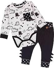 Deux par Deux Baby Boys' Printed Bodysuit and Pants Set Unicorns and Dinos, Sizes 6M-24M