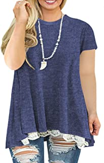 Womens Plus-Size Tops Summer Lace Shirts A-Line Short...
