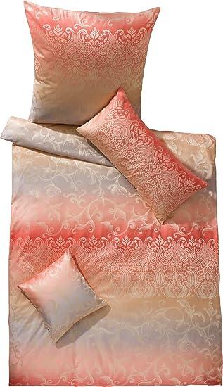 Curt Bauer Mako Brokat Damast Bettwäsche Sabah Design 2440-1614 rosakoralle gold