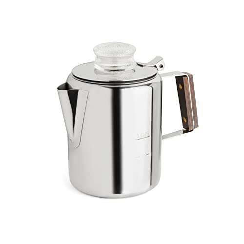 Tops 55702 Rapid Brew Stovetop Coffee Percolator, Stainless Steel, 2-3 Cup