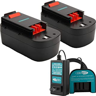 Creabest New 2Packs 3.5Ah Ni-MH 18V Repalcement Battery Compatible with Black & Decker 244760-00 HPB18 HPB18-OPE A1718 A18NH FS180BX FS18BX FS18FL FSB18 Include One 1.2V-18V Charger