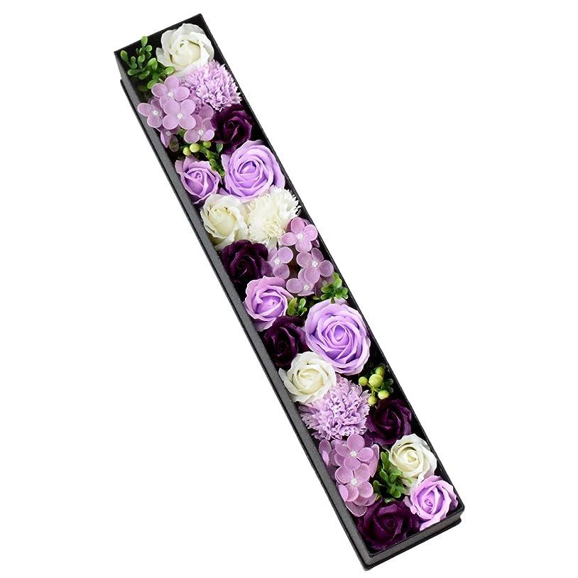 モノグラフガウンリットルフラワーマーケット花由 ロングボックス ソープフラワー アレンジメント ボックスフラワー パープル