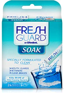 Fresh Guard Soak by Efferdent, For Guards, Retainers & Clear Braces, 24 Count