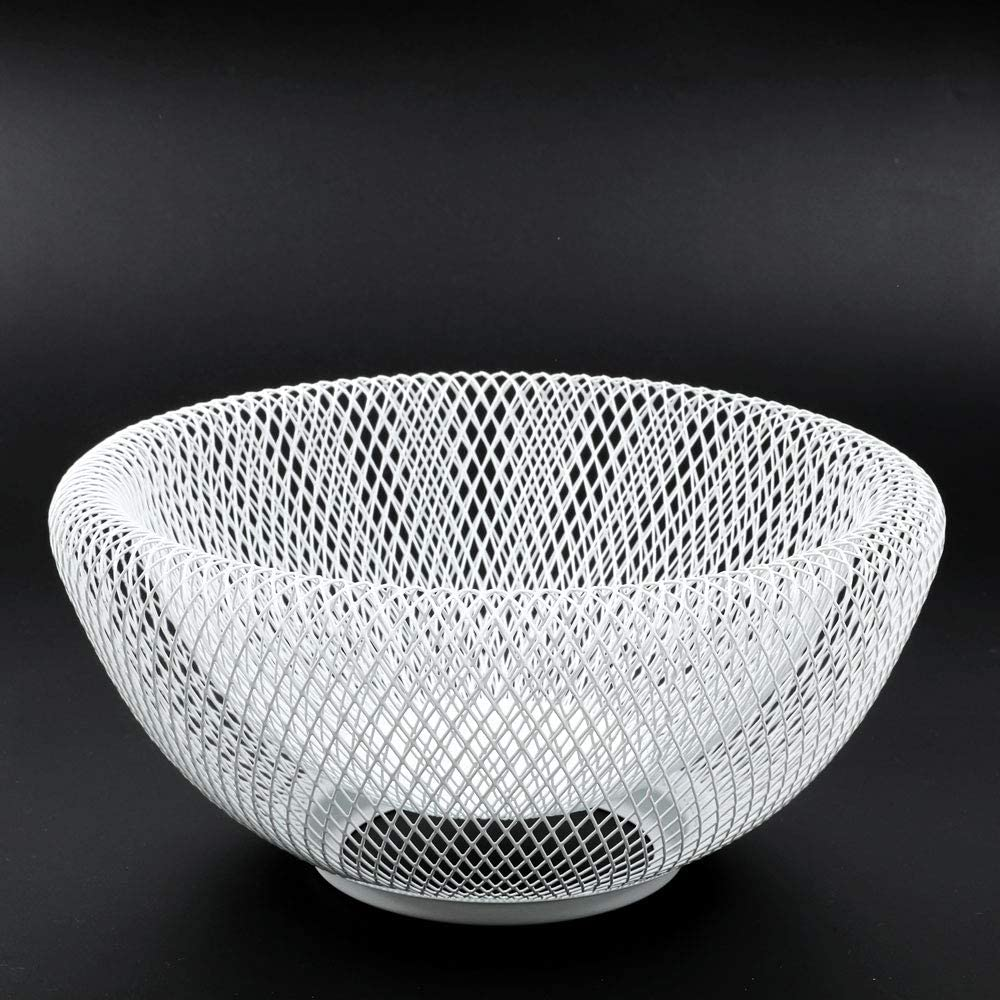 JHY DESIGN Metal Wire Fruit Basket,9.5L Round Storage Baskets for Fruit,Snacks,Bread,Candy,Fashion Fruit Bowl for Living Room(Round White)