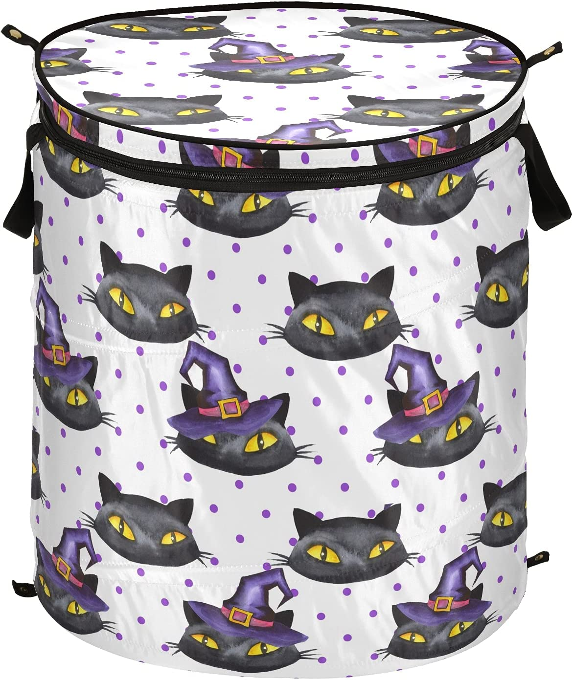 Halloween Black Cat Pop Up Laundry Foldable overseas Lid Direct stock discount Hamper Stor with