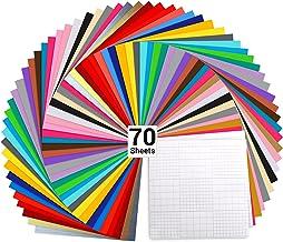 "Vinyl Sheets, Ohuhu 70 Permanent Adhesive Backed Vinyl Sheets Set, 60 Vinyl Sheets 12"" x 12"" + 10 Transfer Tape Sheets, 30..."