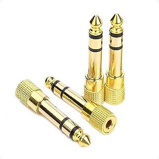 """4-pak adapter do gniazda audio, pozłacany 3,5 mm 1/8"""" żeński jack na 6,35 mm 1/4"""" męski mikrofon głośnik konwerter aux"""