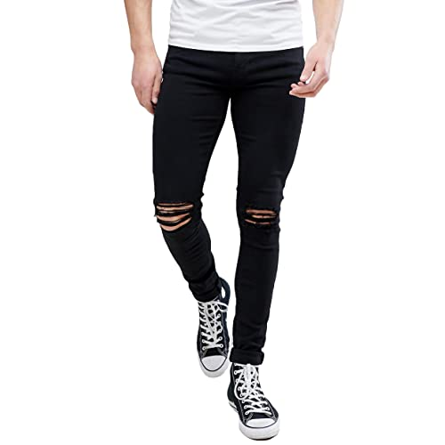 ff96a320b38 MEIKESEN Men s Ripped Destroyed Stretchy Knee Holes Slim Tapered Leg Jeans  Denim Pants