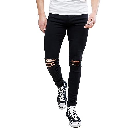 d2ef169d774 MEIKESEN Men s Ripped Destroyed Stretchy Knee Holes Slim Tapered Leg Jeans  Denim Pants