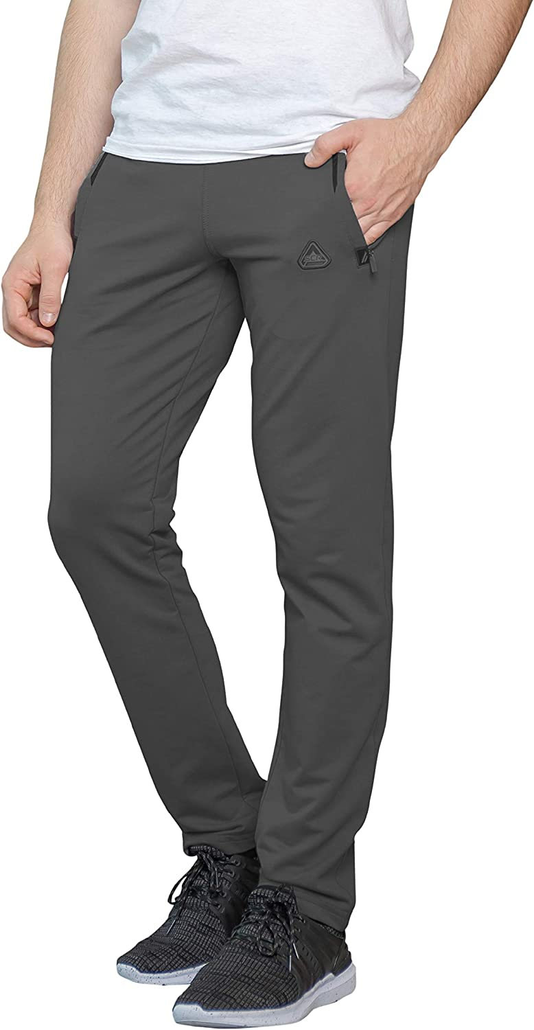 SCR SPORTSWEAR Men's Sweatpants with Pockets Tapered Slim Athletic Joggers Open Bottom Activewear Lounge Pants by Inseam (L/36L, Dark Platinum Grey-K536)