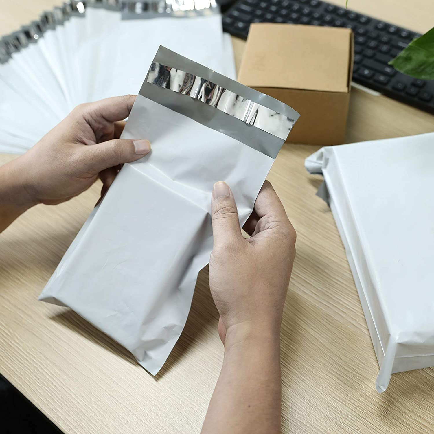 9x12 100pcs White Poly Mailers Envelopes Shipping Bags with Self Sealing Adhesive Strip Enhance Durability Shipping Mailers Bags for Business Office with Waterproof /& Tear-Proof Postal Bags
