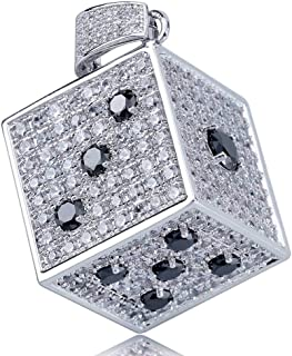 TOPGRILLZ 14K Gold Plated Iced Out CZ Simulated Diamond 3D Crap Dice Pendant Necklace for Men Fashion Jewelry