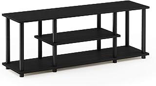 Furinno Meubles TV de divertissement à 3 niveaux, Panneau de particules, noyer/noir, 55 pouces, Walnut/Black, inch