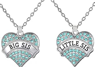 Big Sister & Little Sister Matching Heart Necklace Gift Set of 2, Big Sis Lil Sis Jewelry Gifts for Girls, Teens, Women