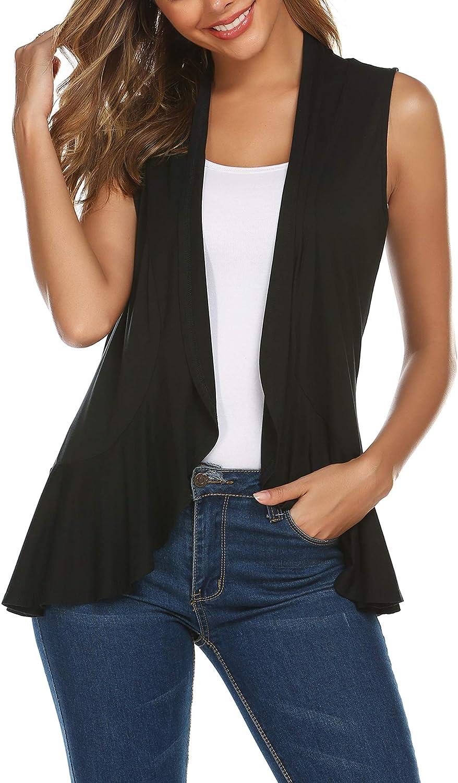 Zeagoo Women's Sleeveless Draped Open Front Cardigan Ruffles Hem Vest