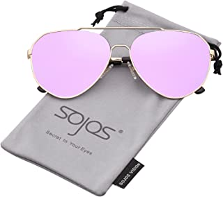 1cd52559cee SOJOS Aviator Sunglasses Mirrored Flat Lens for Men Women UV400 SJ1083