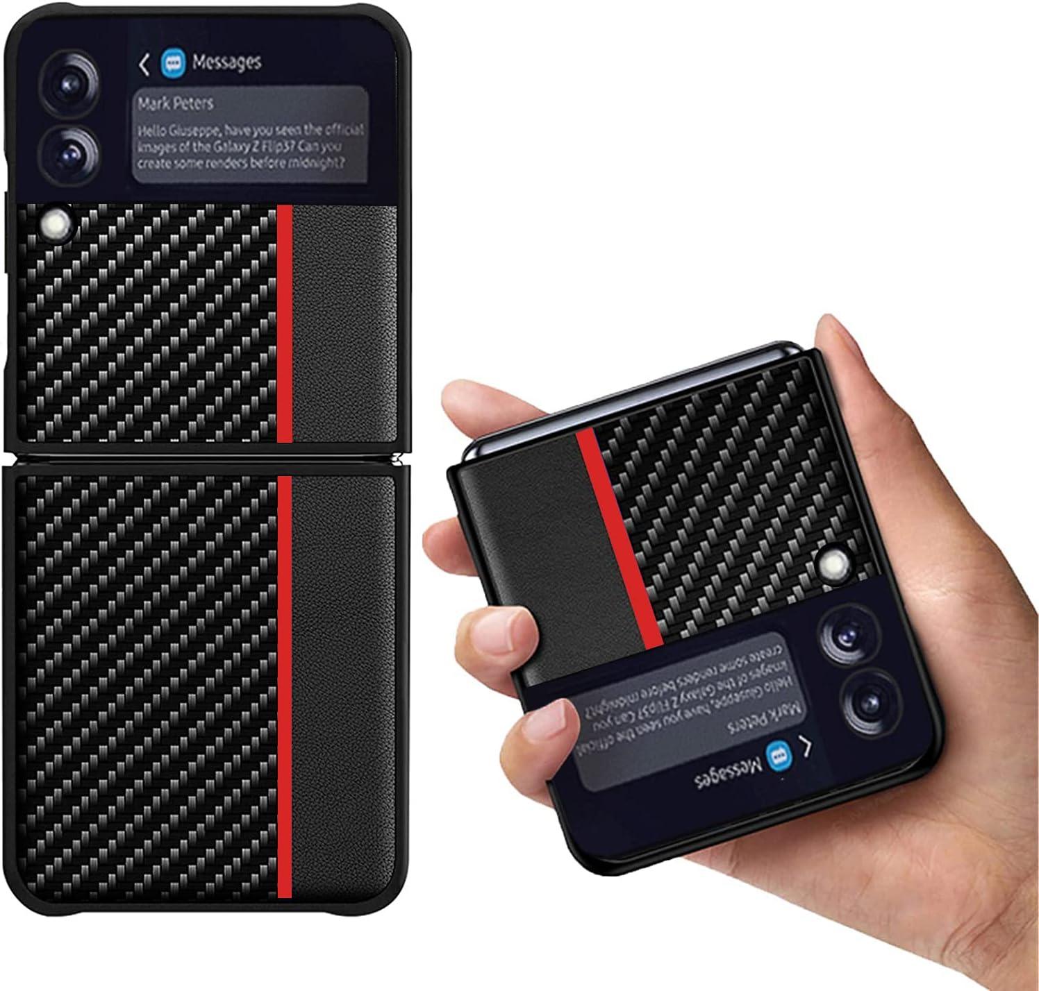 Zouzt Case for Z Flip3 5G Carbon Fiber Case | Ultra Slim | Wireless Charging | Cover Case Compatible with Samsung Galaxy Z Flip 3 / Z Flip3 5G Case (2021) -Red