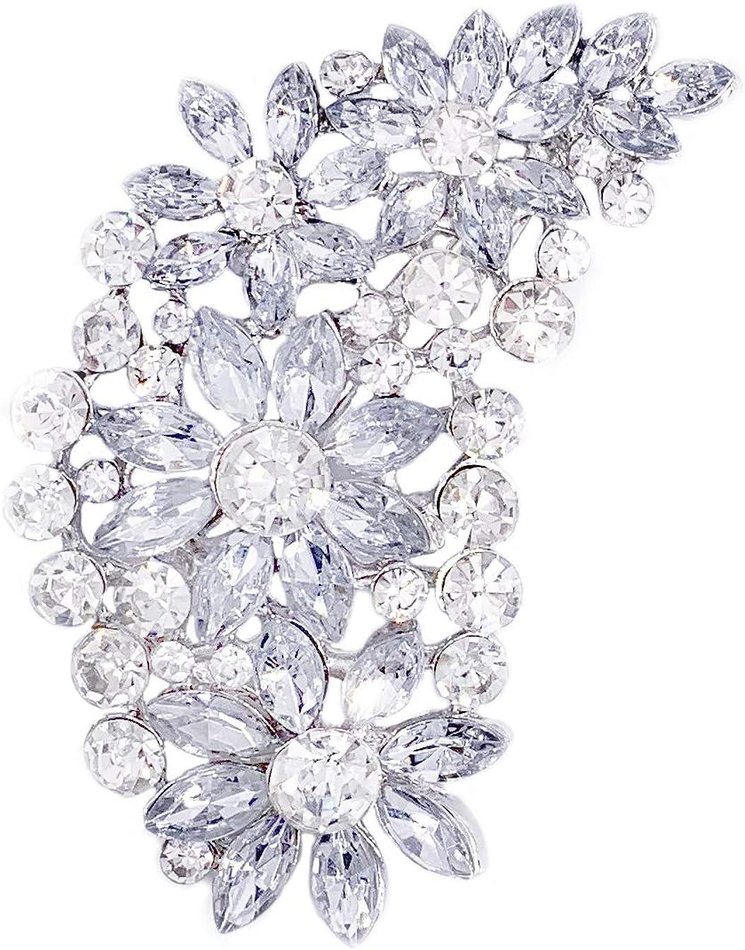 LAXPICOL Vintage Austrian Crystal Flower Leaf Bouquet Clusters Large Big Brooch Pin For Women Gold Tone
