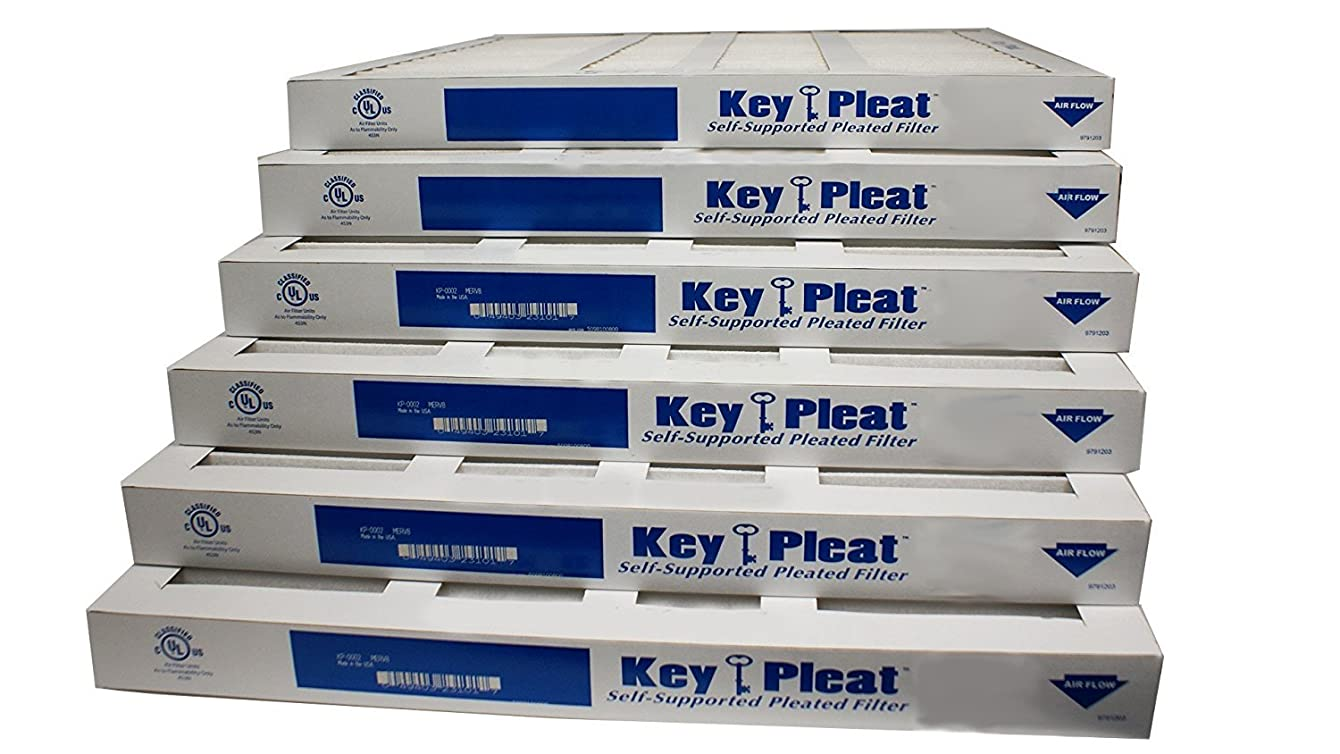 Assigned by Sterling Seal & Supply, (STCC) KP-20x25x2x6.AZ.DSC Furnace Air Filter, 20x25x2 Purolator Key Pleat Extended Surface Pleated Air Filter, Mechanical MERV 8 (Pack of 6)