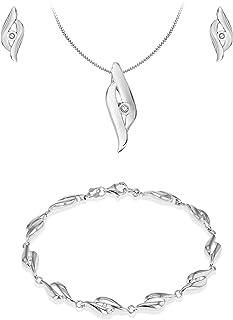 Tuscany 纯银镀铑钻石交叉镶嵌耳环/吊坠/手镯